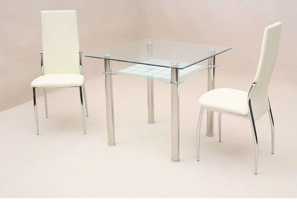 Small Square Clear Glass Dining Table Chairs Homegenies