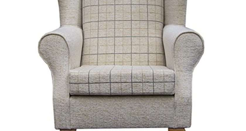 Small Westoe Wingback Armchair Maida Vale Check Stone