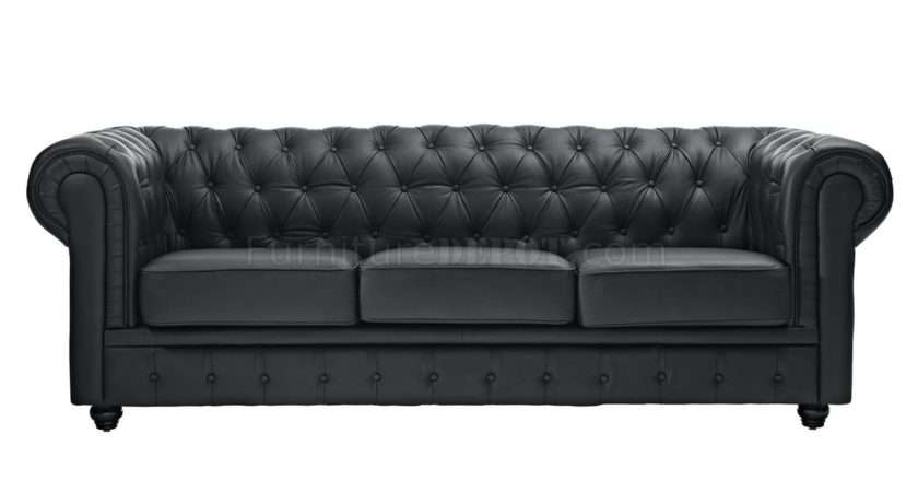 Sofa Black Leather Modway Options Mws Chesterfield