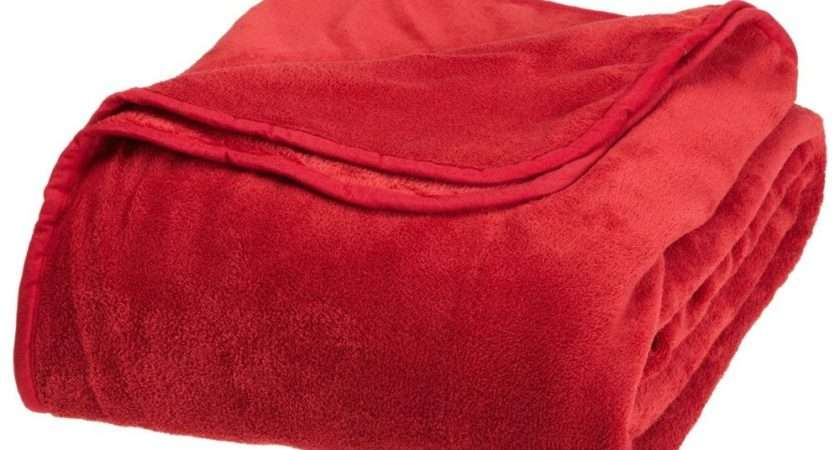 Solid Red Bright Blanket Bedding Throw Fleece Queen Super Soft