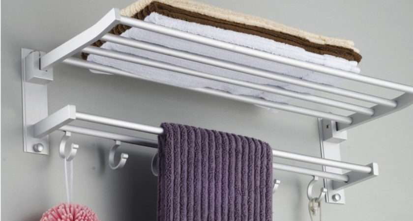 Space Aluminum Towel Rack Holder Wall Mounted Bathroom Storage Shelf