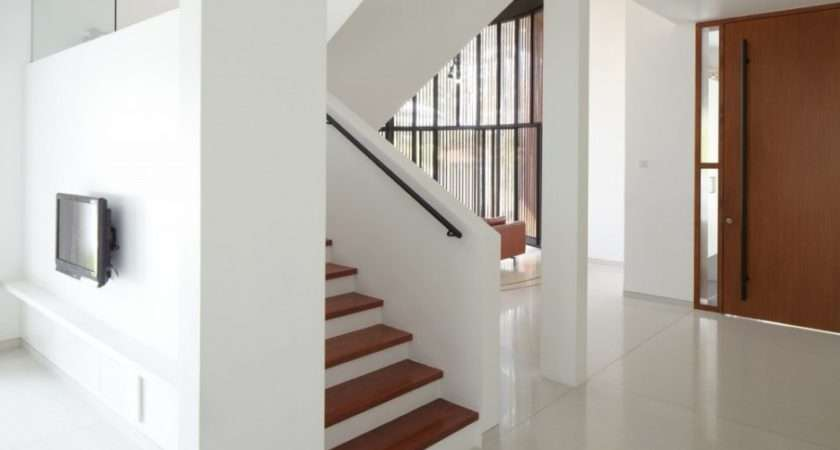 Staircase Interior Design Used White Brown Color Decoration Ideas