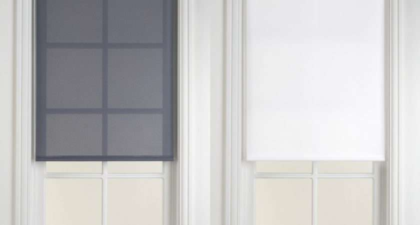 Statement Collection Voile Roller Blinds Blue Grey White
