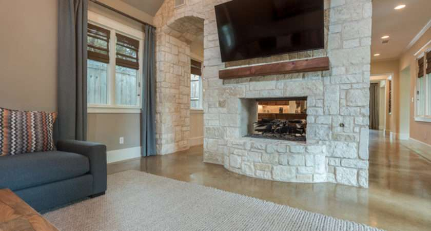 Stone Feature Wall Fireplace Transitional