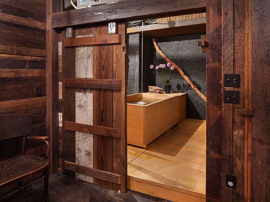 Stunning Bathroom Sliding Barn Door Japanese Soaking Tub