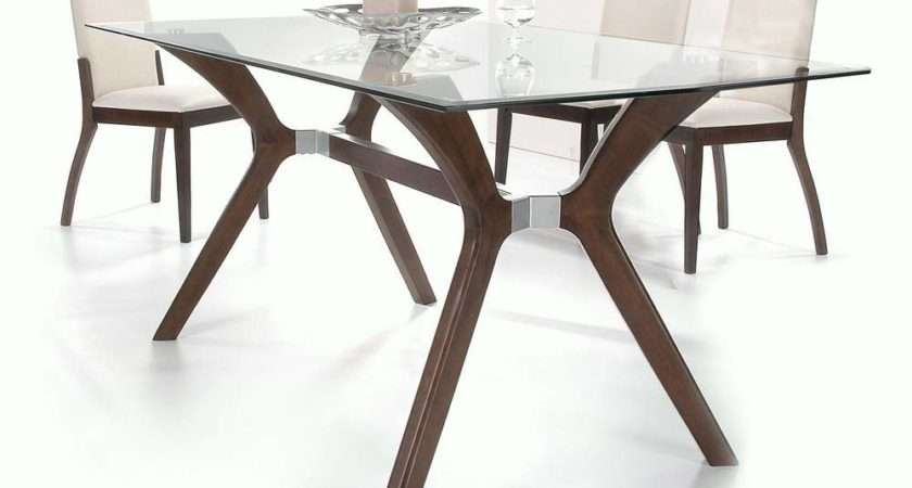 Stylish Wooden Clear Glass Top Leather Dining Set