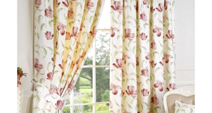 Sundour Ascot Pink Floral Readymade Pencil Pleat Curtains