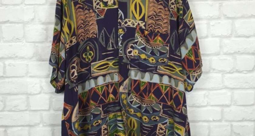 Super Funky Abstract Print Button Vintageous Rags