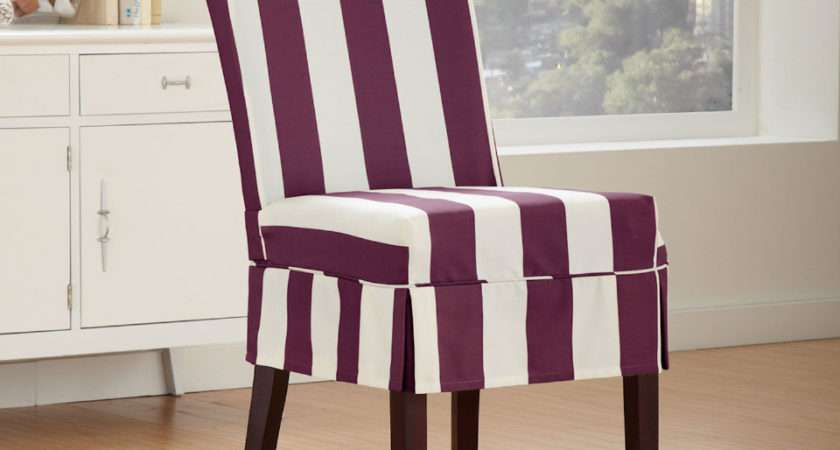 Sure Fit Cabana Striped Dining Chair Slipcover Boysenberry