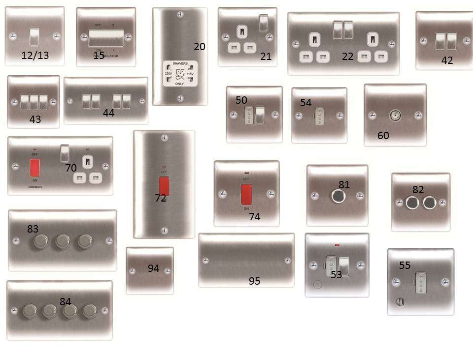 Switches Sockets Black Nickel Polished Chrome Brushed Steel