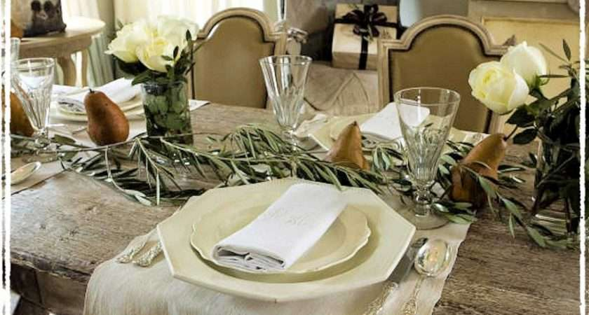 Table Setting Elegant White Rustic Christmas Decorations Above