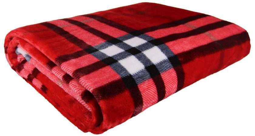 Tartan Check Fleece Throw Blanket Sofa Bed Red White Black