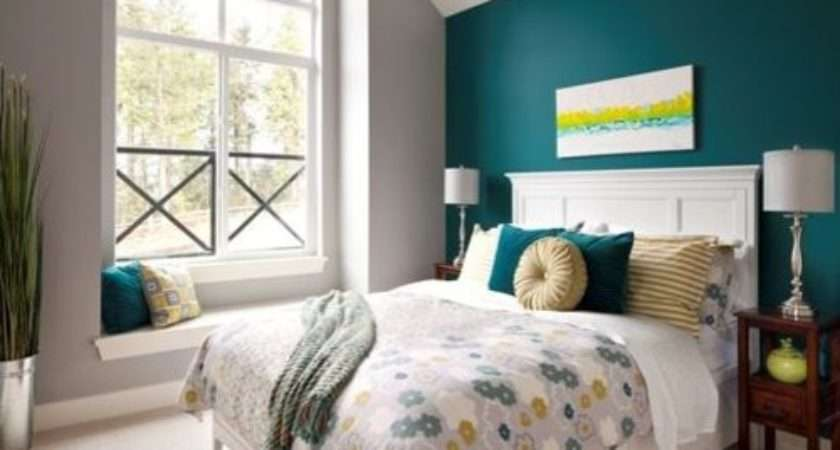 Teal Accent Wall Bedroom Design Ideas Remodel