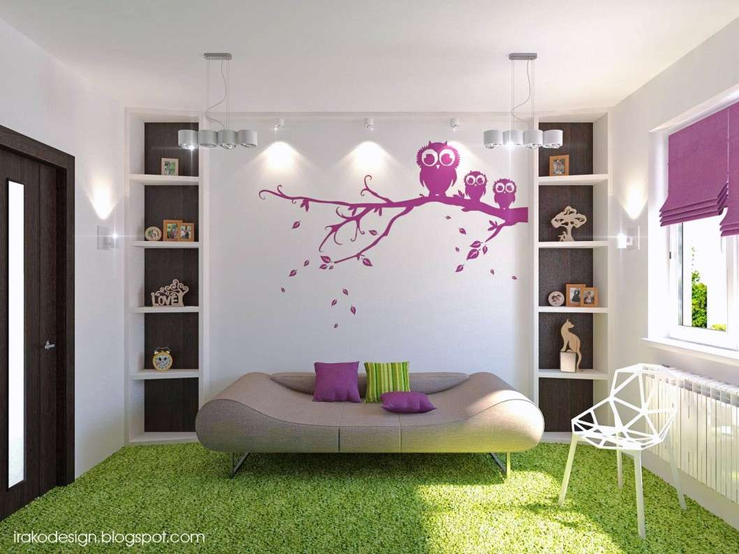 Teenage Room Idea Has Grey Sofa White Chair Green Carpet Decozt