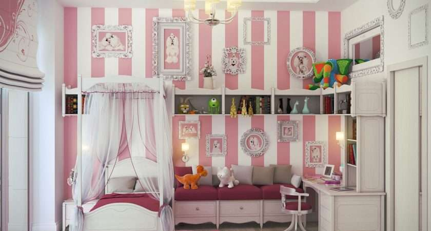 Teens Bedroom Girly White Pink Striped Wall Girls
