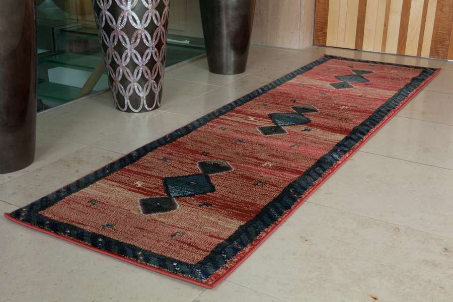 Terracotta Sage Green Contemporary Aztec Hallway Floor Runner Rugs