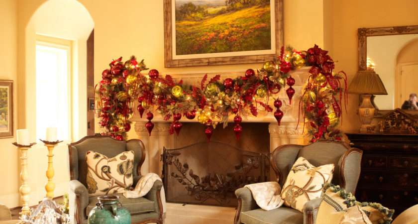 Theme Gold Red Garland Ornaments Leaves Mantel Living Room