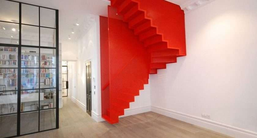 These Awesome Hanging Red Stairs Taking Center Stage London