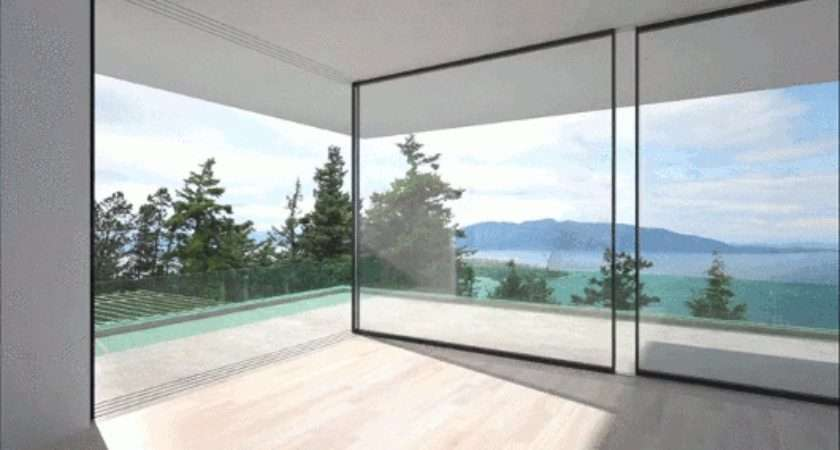 These Glass Walls Slide Around Corners Disappear