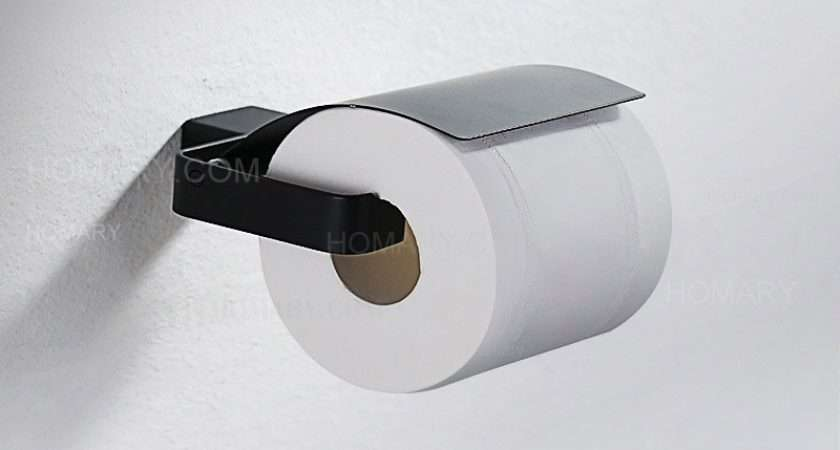 Tierney Contemporary Black Wall Mount Toilet Paper Holder