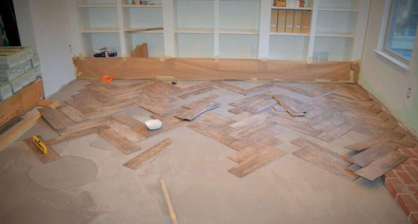 Tile Herringbone Floor Room Reno