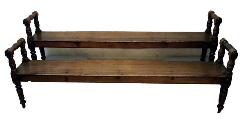 Timms Antique Victorian Pair Oak Hall Benches