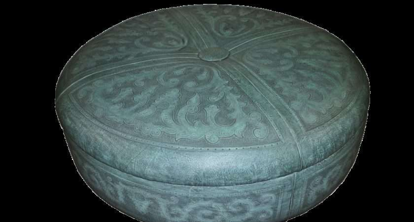 Tooled Leather Colonial King Kong Inch Ottoman Turquoise