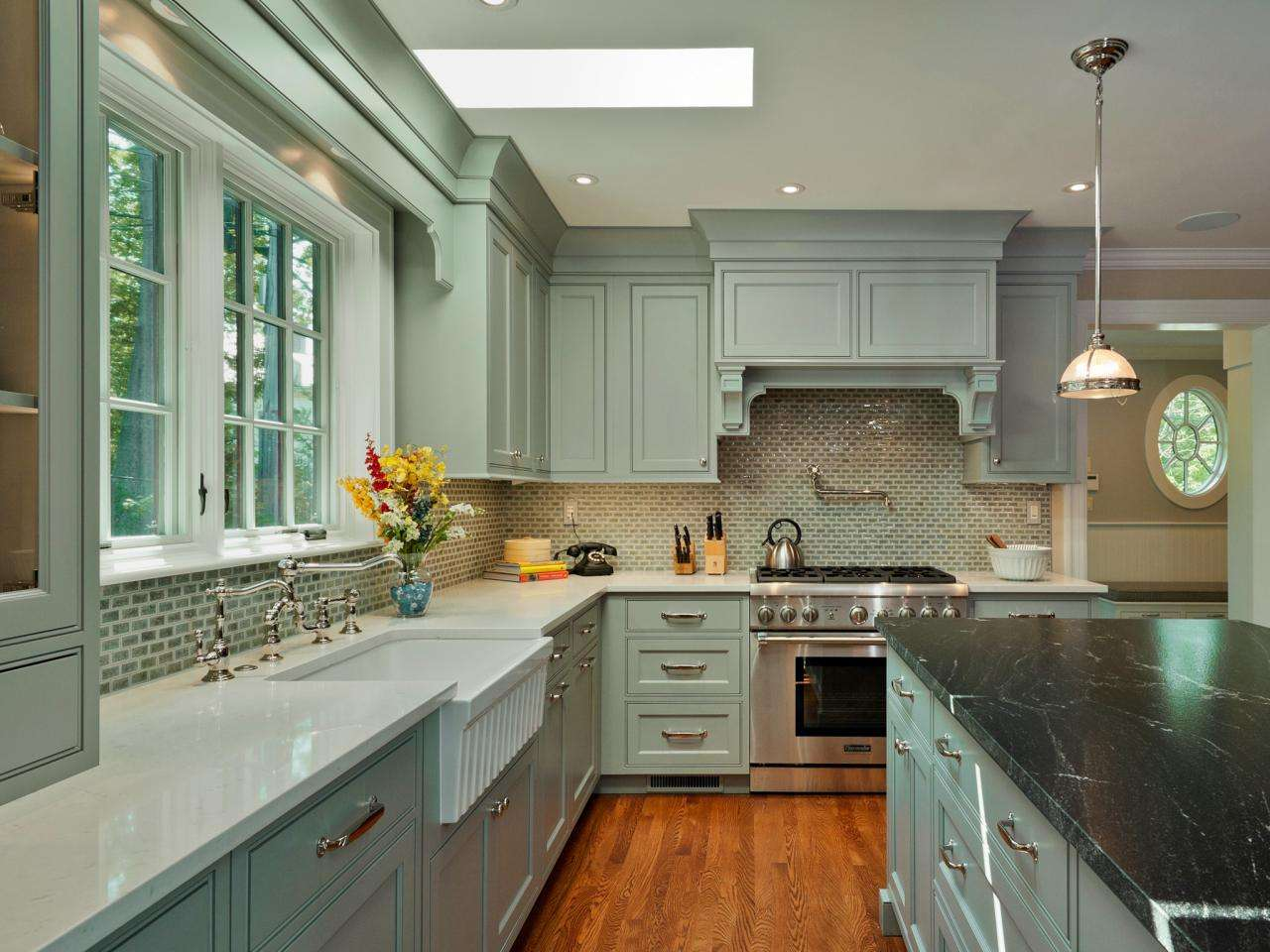 Traditional Kitchen Light Blue Cabinets Soft Gray Cabinetry