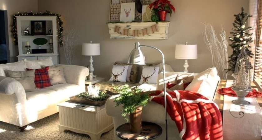 Traditional Red Cream Christmas Living Room