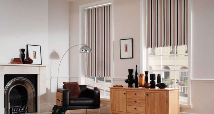 Traditional Striped Blackout Roller Blinds Black Leather Chair Light