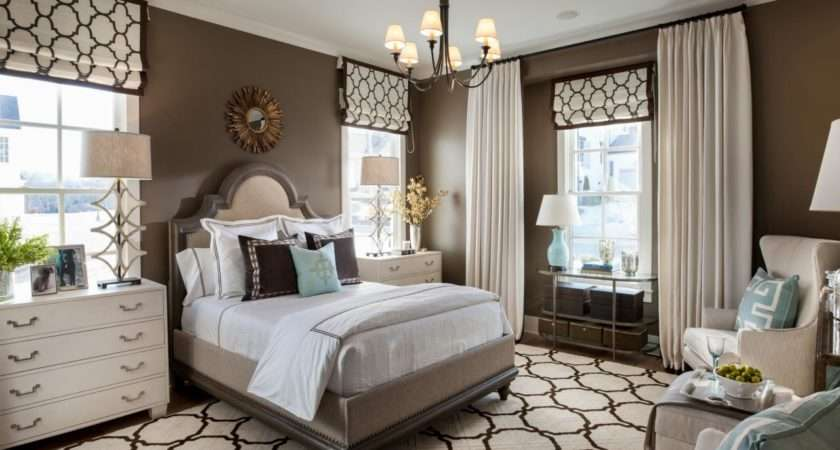 Transitional Style Bedroom Brown Blue Bold