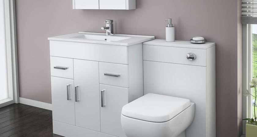 Turin High Gloss White Vanity Unit Bathroom Suite