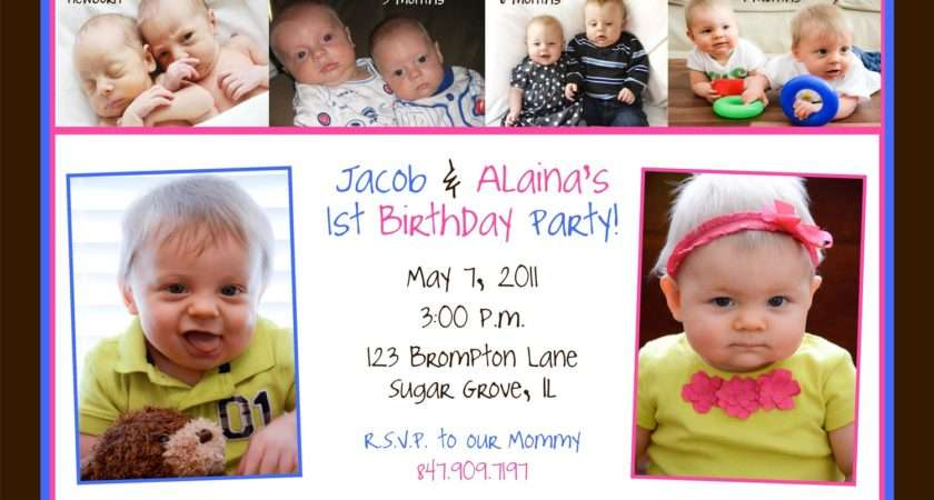 Twins First Birthday Party Invitation Monthly Ellerydesigns