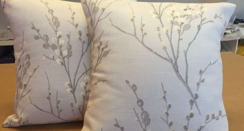 Two Laura Ashley Handmade Cushions Pussy Willow Dove