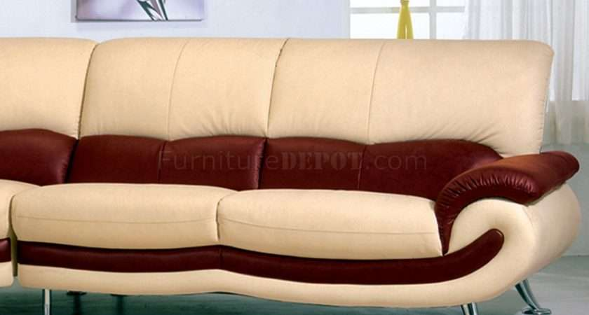 Two Tone Leather Modern Sectional Sofa Chromed Metal Legs