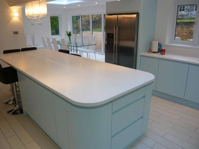 Ultima Duck Egg Blue Handle Less Kitchen Modern