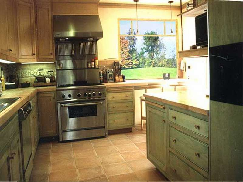 Upgrading Green Kitchen Cabinets Interior