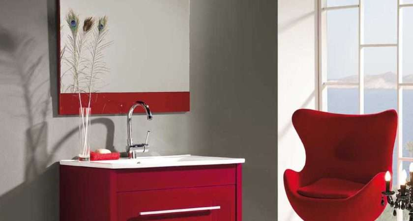 Uxo Bathroom Cabinet Red Lacquered Modern Style Measures