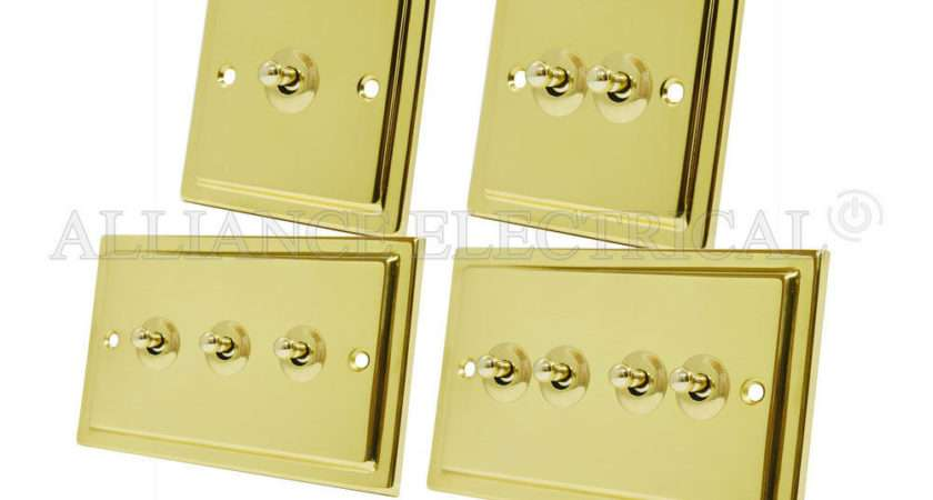 Victorian Polished Brass Toggle Switch Way