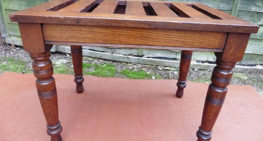 Vintage Antique Oak Luggage Stand Stool Solid Joint Circa
