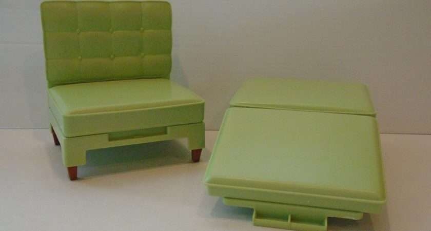 Vintage Barbie Green Chair Ottoman Converts Bed Clb