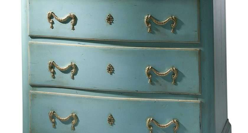 Vintage Chest Drawers Blue Brass Fittings