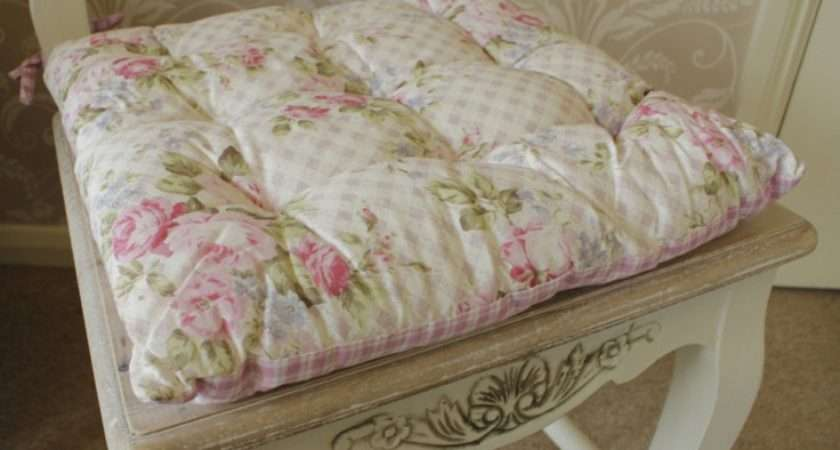 Vintage Chic Seat Cushion Chair Pad Dining Room Shabby Cottage Gingham