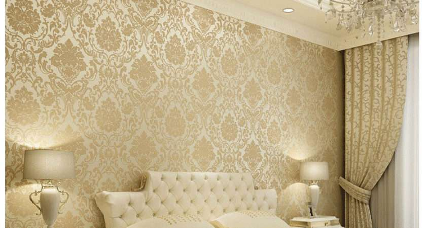 Vintage Classic Beige French Modern Damask Feature Wall