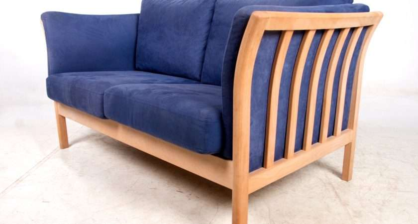 Vintage Danish Sofa Seater Retro Stouby Couch Beech Blue Suede
