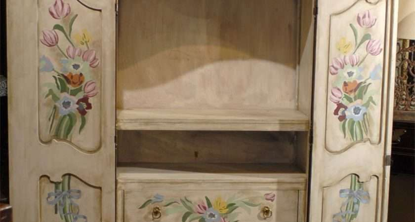 Vintage French Country Armoire Hand Painted Floral