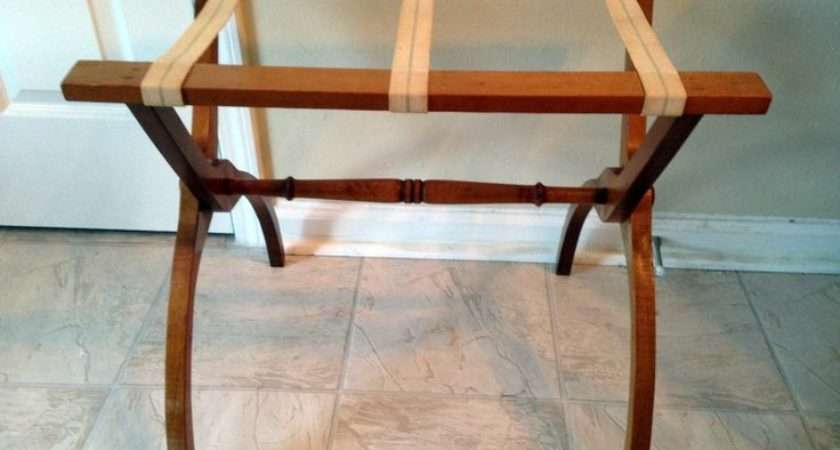 Vintage Mahogany Folding Wooden Luggage Suitcase Rack Stand Victorian