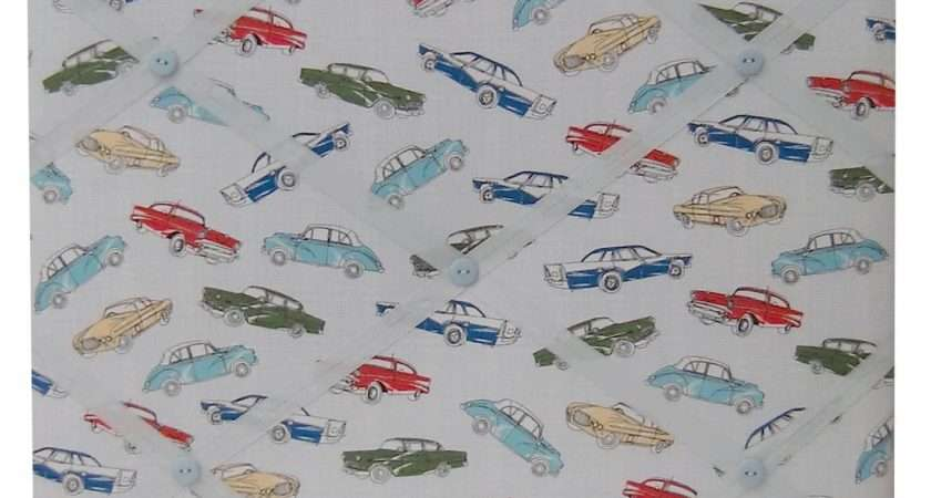 Vintage Retro Cars Fabric Covered Box Framed Memo Pin