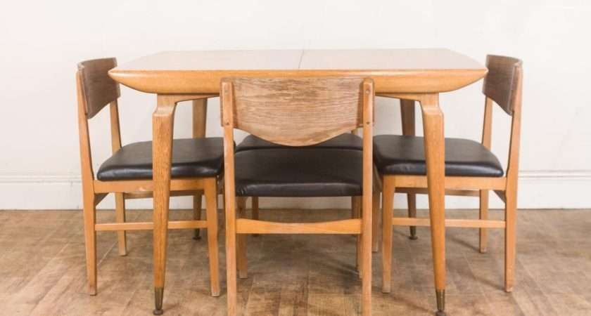 Vintage Retro Light Oak Dining Table Chairs