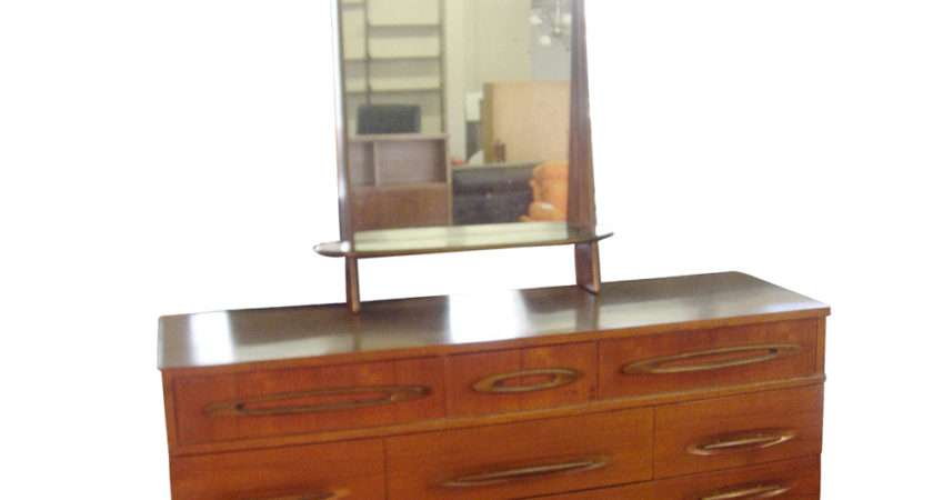 Vintage Wood Drawer Dresser Mirror Ebay